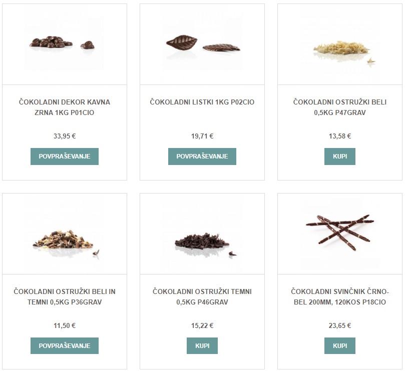 Primer čokoladnih dekoracij